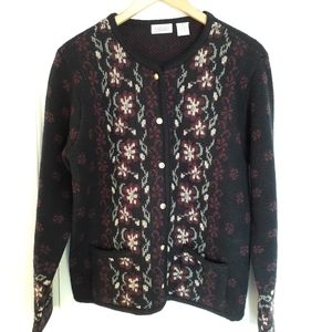 Vintage Floral Button Front Cardigan With Pockets